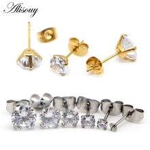 2-8mm pequeno ouro prata cor brincos pedra cz cristal orelha studs aço cirúrgico cúbico zircônia hélice brinco feminino acessórios