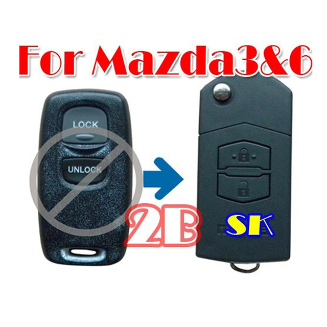 Flip Folding Key Shell Refor Mazda 3 5 6 Remote Key Case Fob 2 Buttons New B
