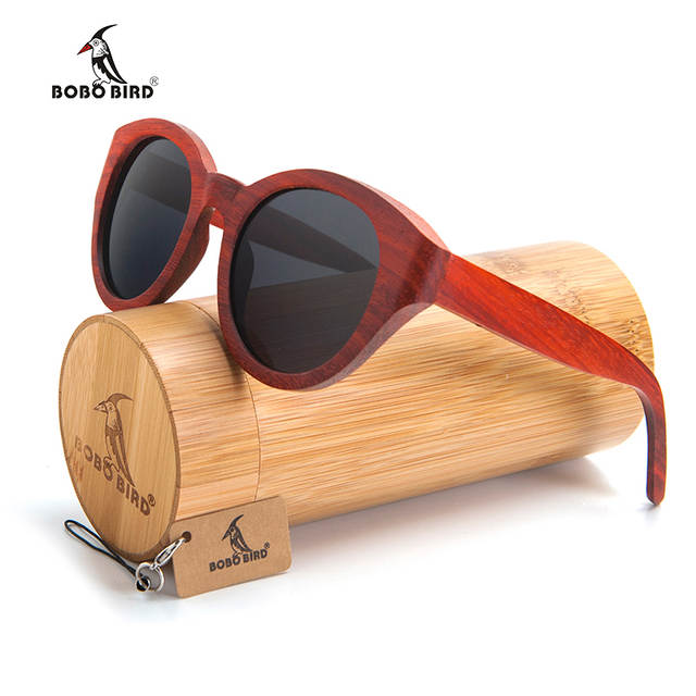 7b1243b499 placeholder BOBO BIRD New Red Wood Wood Sunglasses Women Wooden Sun glasses  for Ladies With Bamboo Box