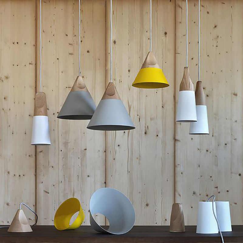 Скандинавский комбинированный бар из натурального дерева подвесные светильники разноцветные, алюминиевые лампы затененный подвесной светильник для столовой домашнего освещения и т. д.