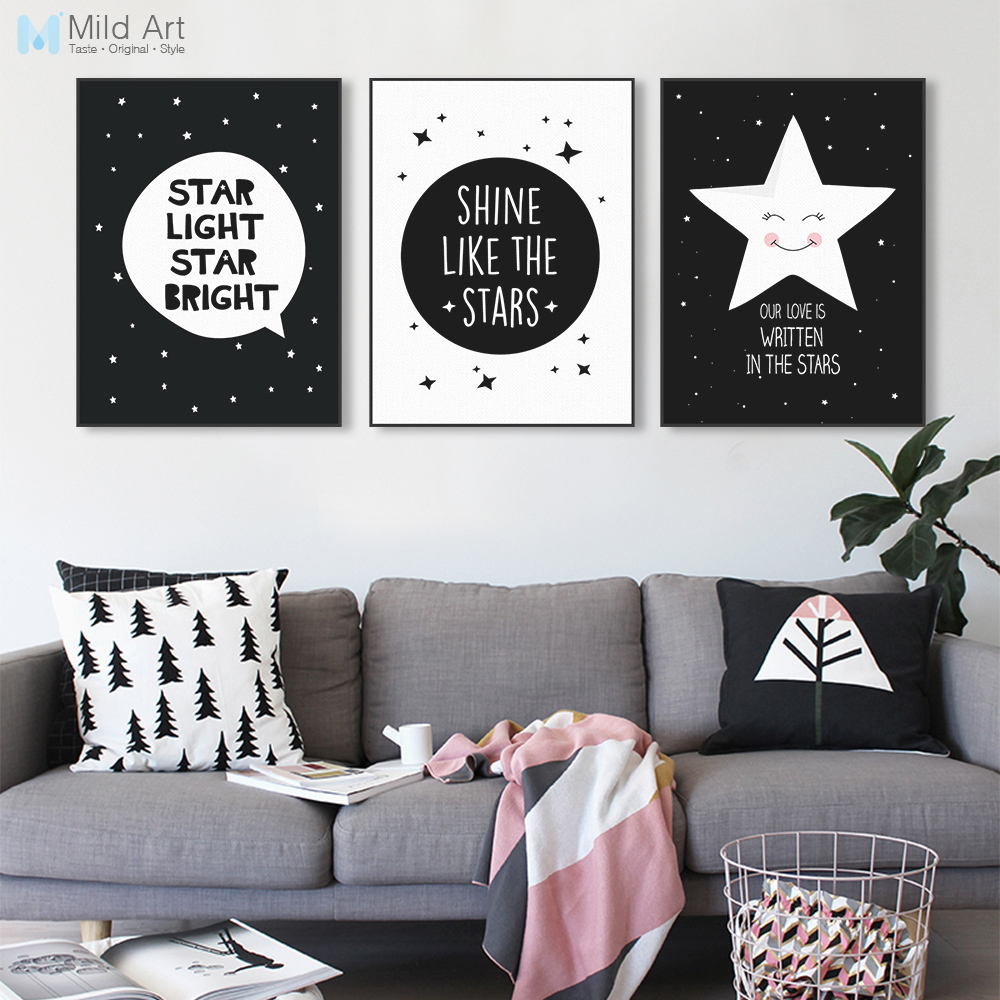 Modern Black Kawaii Star Quotes Art Print Poster A4 Wall Picture