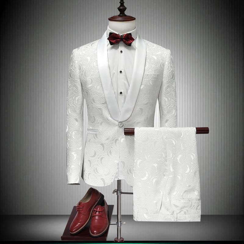 Italian Men Tailcoat White Wedding Suits For Men Groomsmen Suits 2 Pieces Peaked Lapel Groom Wedding Dress Men Suits