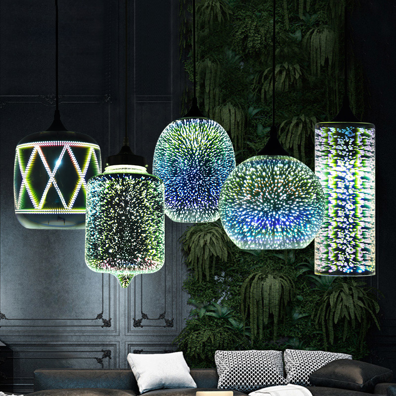 Modern Led colorful Plated 3D glass <font><b>pendant</b></font> <font><b>light</b></font> Mirror glass Ball lampshade for restaurant cafe bar dining living room lamp image