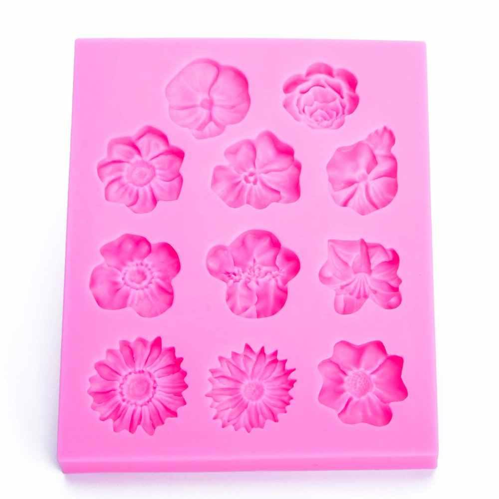 Flor Rosa Decoración Molde de Silicona para fondant pastel Herramienta de Repostería Molde Chocolate
