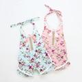 Новый бутик baby rompers урожай цветочные печати новорожденного девушки одежду с оголовье милый комбинезон Summer Infant одежда