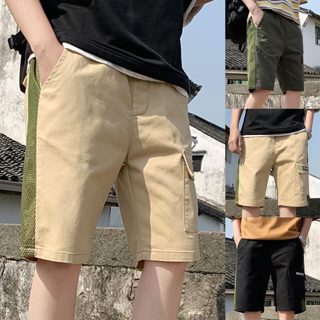 2019 solide Sommer Mens Strand Shorts Baumwolle Große Größe Männer Casual Männlichen Shorts Sommer Baumwolle Casual Kordelzug Taille Shorts