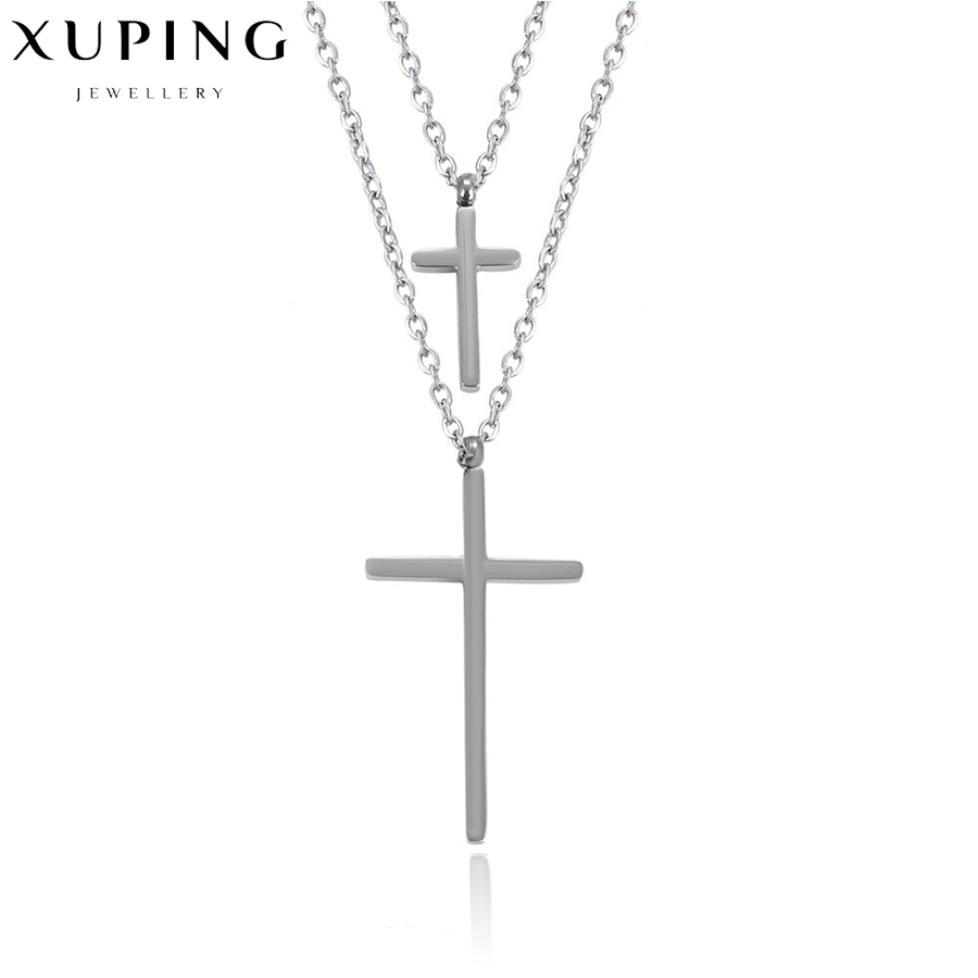 Fashion <font><b>cross</b></font> pendants necklace stylish layered gift stainless steel statement necklace valentines day charm luxury mode C01784