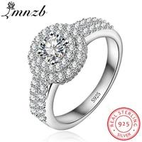 LMNZB Brand Elegant Queen Ring Original 925 Sterling Silver Gift Jewelry Round Cut 5A Cubic Zirconia Ring Bijoux For Women LR945