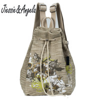 Hot High Quality Linen Drawstring Backpack Female Printing Flower Women Bag Quality Embroidery National Backpack Girl