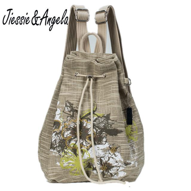 Venta caliente del estilo Chino de impresión mochila mochilas feminina mochilas cordón de lino bordado mochila chica bolsa de hombro