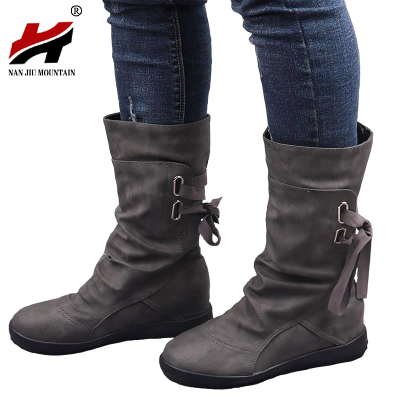 2017 new winter autumn women boots round toe lace-up comfortable flat shoes women fashion boots female popular shoes wholesale front lace up casual ankle boots autumn vintage brown new booties flat genuine leather suede shoes round toe fall female fashion