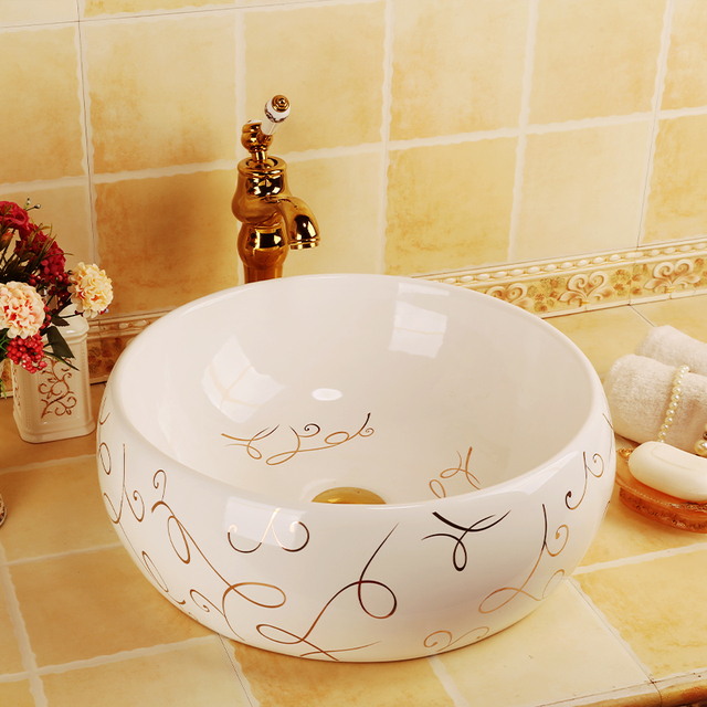 European Style Home Decoration Table Top Art Bathroom Porcelain Washing Basin