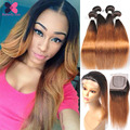 Ali Grace Hair Brazilian Weave With Closure 3 Bundles Blonde Straight Brazilian Virgin Hair And Lace Closure 7A Ombre Weave Hair