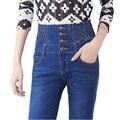 Mulheres moda primavera Outono modelos explosão Magro alta cintura elástica calças jeans femininas MM de gordura grande tamanho das calças de brim pés femininos Atacado