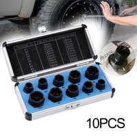 FATCOOL 10Pcs 9-19mm Damaged Rounded Bolt Nut Extractor Remover Tool Set Nuts Removal Tools Parts