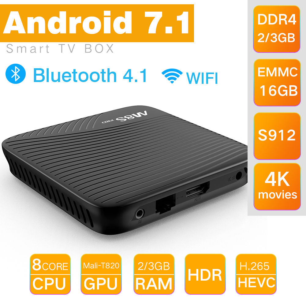 M8S MECOOL PRO Android 7.1 TV Box BT 4.1 DDR4 S912 Amlogic 2.0 GHz Octa Core Cor
