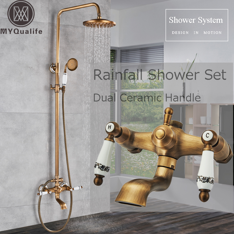 цены Blue and white porcelain Shower Set Faucet Dual Ceramic Handle Bath Shower Mixer Faucet Swivel Spout 8