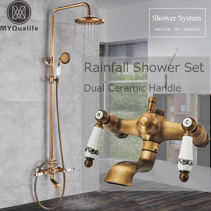 Blue And White Porcelain Shower Set Faucet Dual Ceramic Handle Bath Shower Mixer Faucet Swivel Spout 8