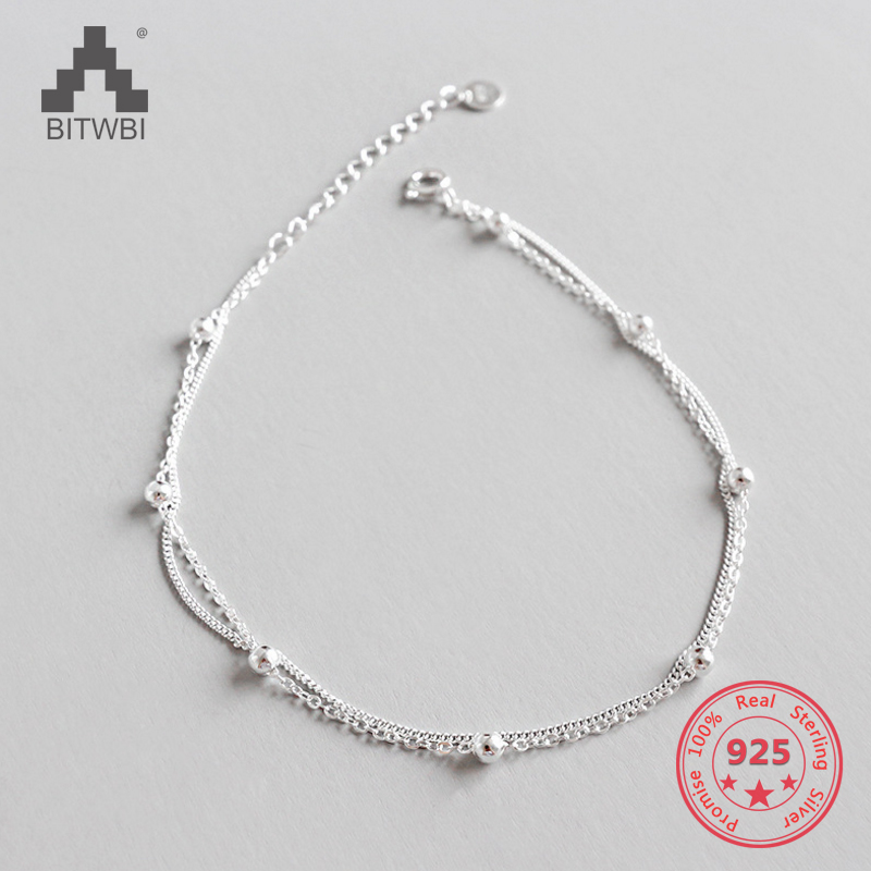 Fashion Lady Anklets Silver 925 Women Bracelets Jewelry Top Quality Ball Design Girl Bracelet on the leg For Party Birthday Gift