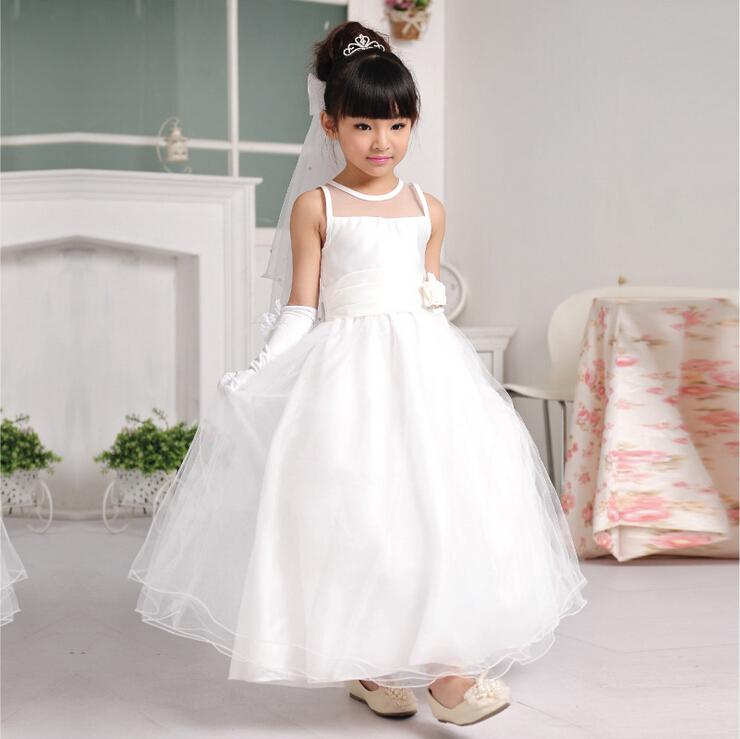 De alta Calidad de la Muchacha de Flor Vestido Blanco Simple Largo Vestido de Las Muchachas