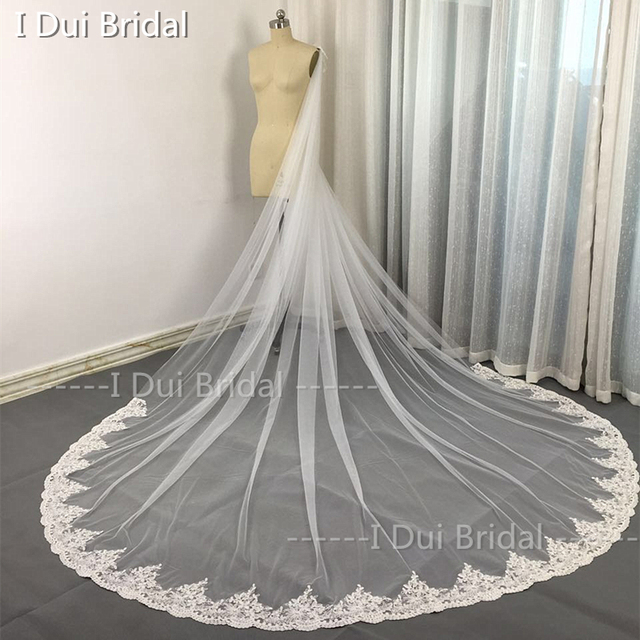 Lace 3 Meter Long Bridal Scarf Wedding Shawl with Crystal Beaded High Quality Custom Made High Quality Lace Cape Cloak