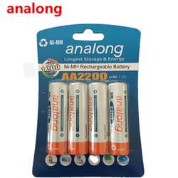 Analong 2a AA Аккумуляторная батарея 1,2 В AA2200mAh Ni-MH Предварительно заряженный аккумулятор 2A Baterias для Камера