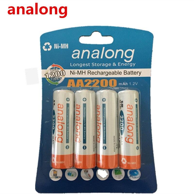 Analong 2a AA batería recargable 1,2 V AA2200mAh Ni-MH Pre-cargado de la batería recargable de 2A baterías para la cámara