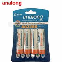 Analong 2a AA batería recargable 1,2 V AA2200mAh Ni-MH batería recargable precargada 2A Baterias para cámara