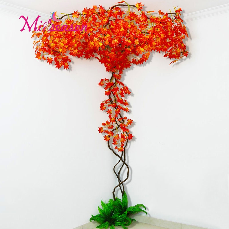 New DIY green landscaping artificial leaves indoor decoration for home wedding living room wall fake flower plant decorative