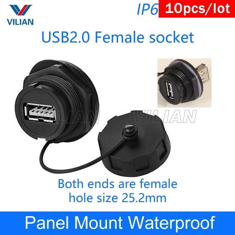 USB female socket plug Panel Mount adapter USB 2 0 3 0 Waterproof Connector IP67 extension