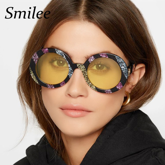 fc94490a2f New Fashion Women large Colorful Striped Round Glitter Sunglasses big oval  Style Trending Luxury Ladies Sunglasses yellow UV400