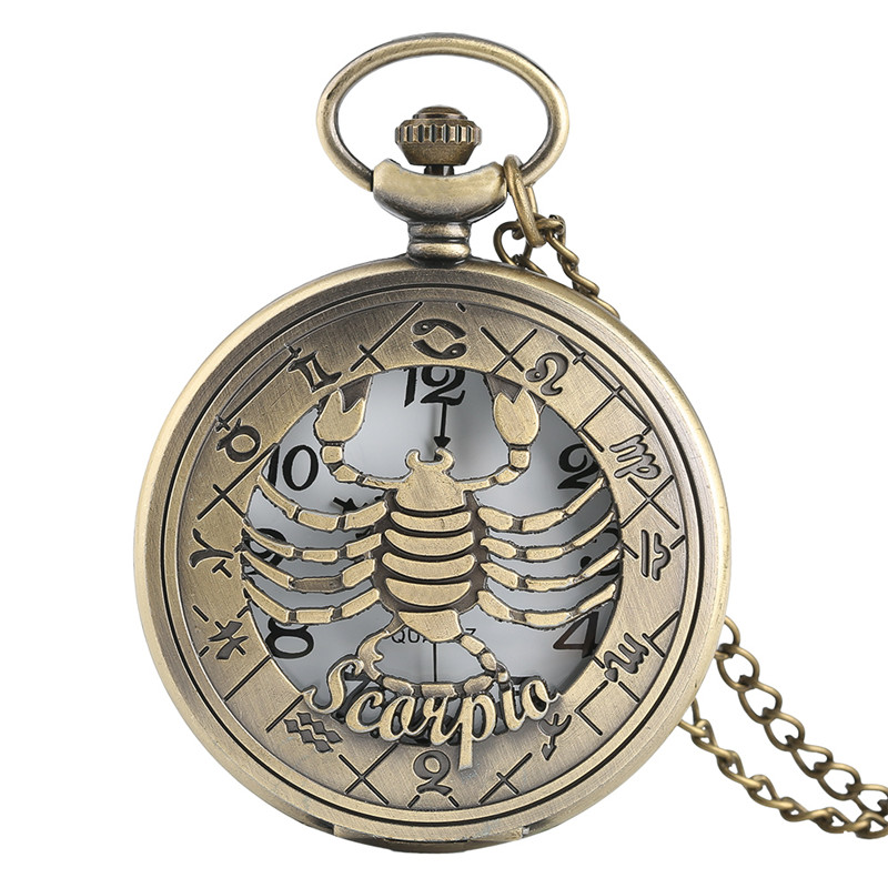 Luxury Retro Deisgn Hollow Scorpio Twelve Constellations Theme Pocket Watch Hot Selling Men Women Clock Gift Reloj De Bolsillo