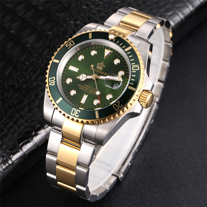 Mann Uhr 2018 Top Marke Reginald Uhr Männer Sport Uhren Drehbare Lünette GMT Sapphire Glas Datum Edelstahl Uhr Geschenke
