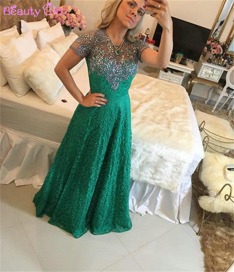 2016 New Arrival Rhinestone Appliqued Short Sleeve Lace Long Evening