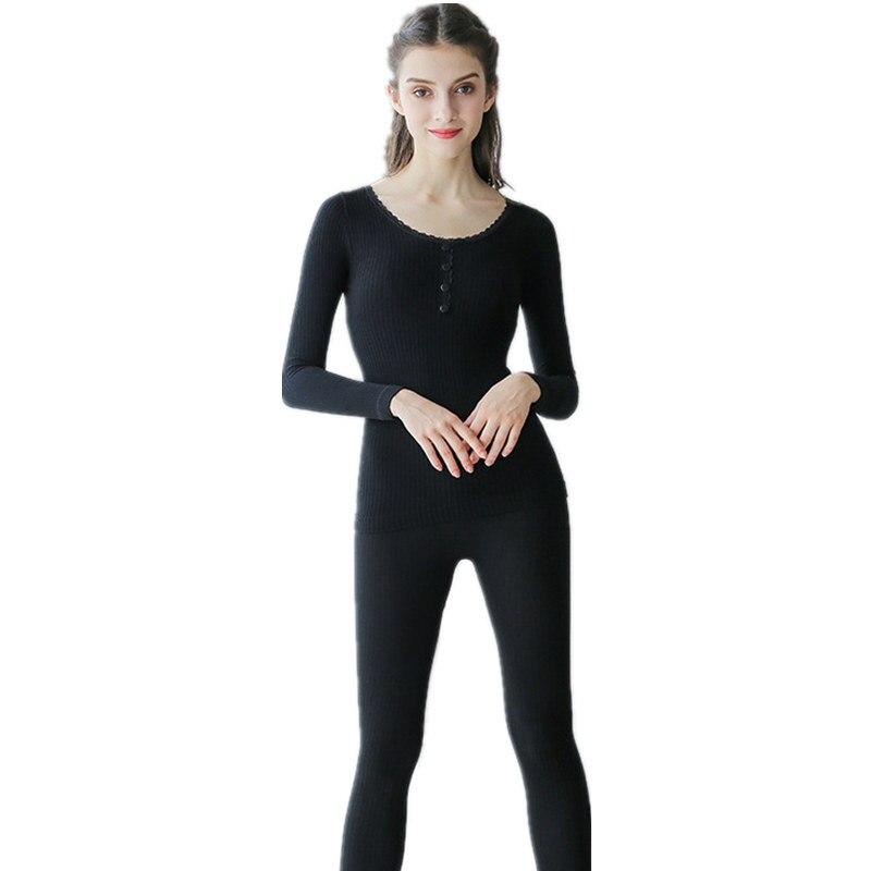 2018 Neue Herbst Winter Sex Taste Thermische Unterwäsche Frauen Elastische Atmungs Weibliche Oansatz Casual Baumwolle Warme Lange Unterhosen Sets Niedriger Preis
