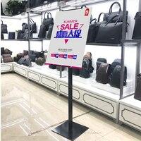Réglable Chrome Floor Stand Signe Piédestal et Porte-Affiche pour la Vente Au Détail Magasin ou un Center Commercial