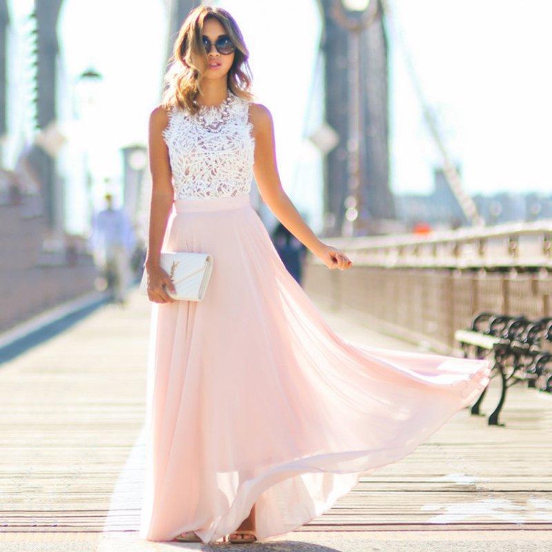 S-XXL Frauen Elegante Kleid Häkeln Spitze Chiffon Strand Kleid Sexy Ärmellose Lange Party Maxi Kleider Vestidos
