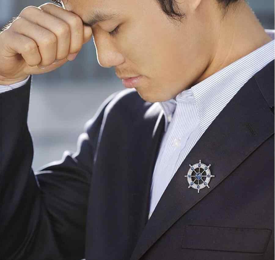 Pria Bros Naval Shui Kemudi Retro Suit Kerah Pin Lencana Perhiasan Trendi Fashion Individualitas Gentleman