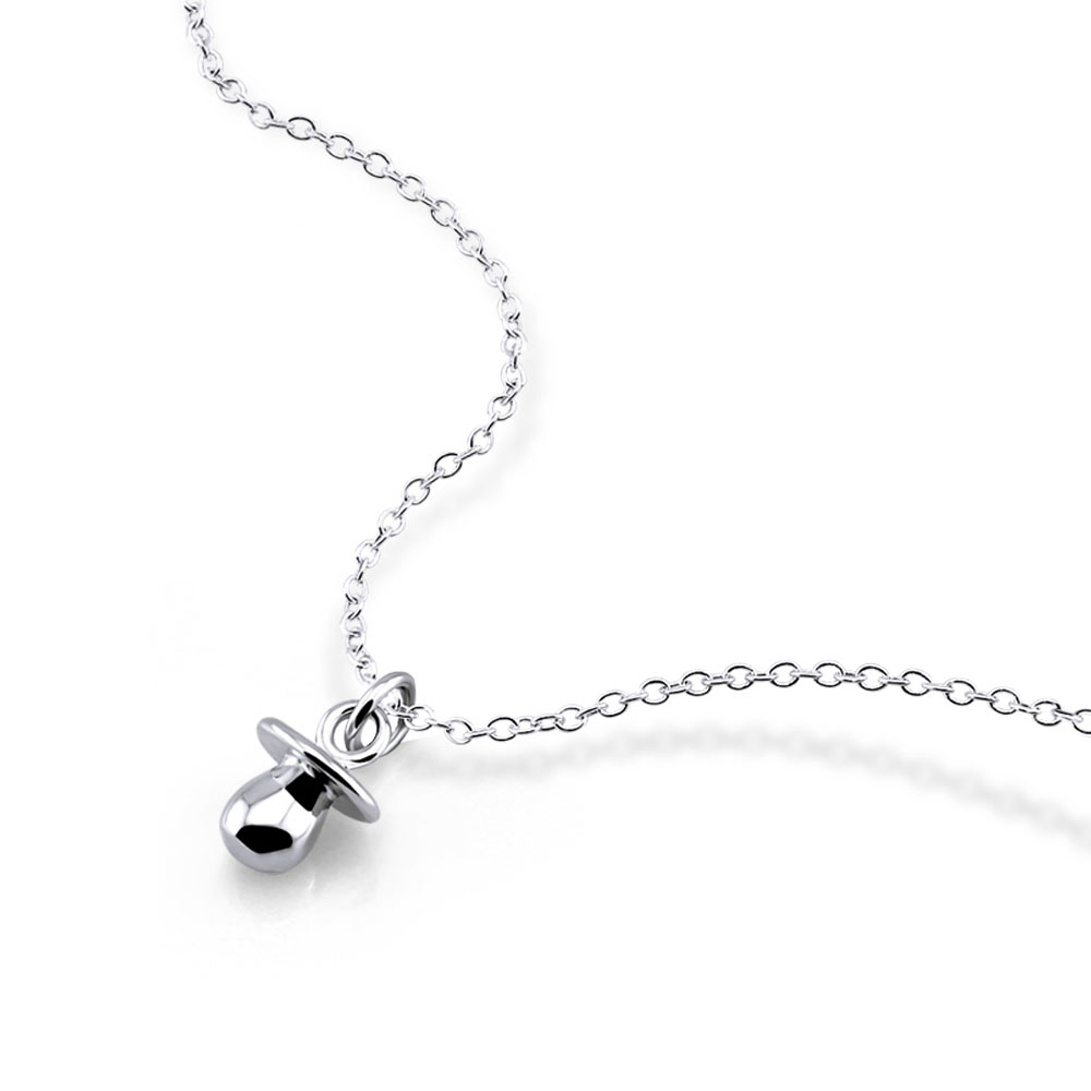 Cute girl jewelry 925 sterling silver pacifier pendant necklace minimalist real silver chain student accessories 40+5cm length