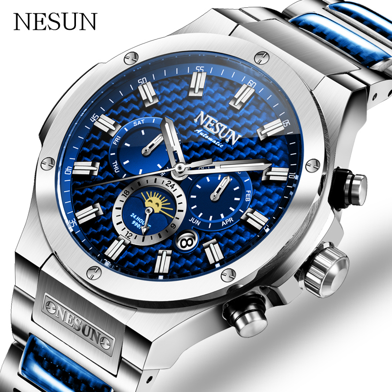 NESUN Fashion Business Automatic Mechanical Wristwatches Waterproof Stainless Steel Men Watches Luxury Brand Relogio Masculino