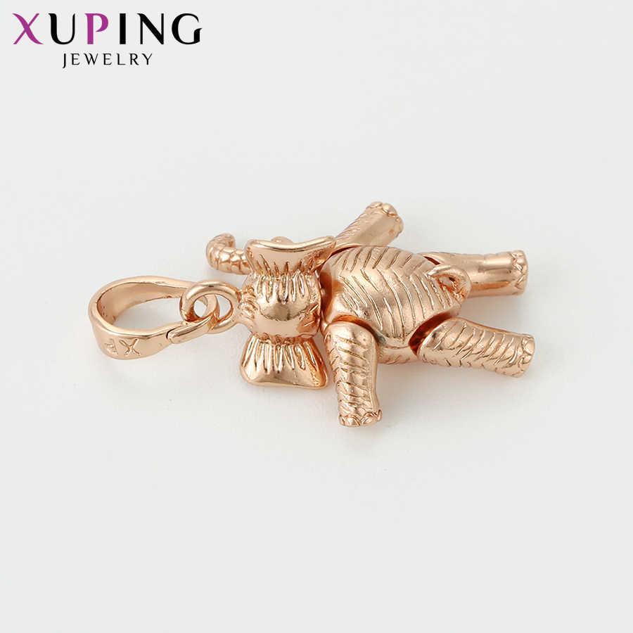 Xuping najnowszy luksusowy naszyjnik wisiorki różowe złoto kolorowy słoń kształt biżuteria świąteczne prezenty S111, 8-33698