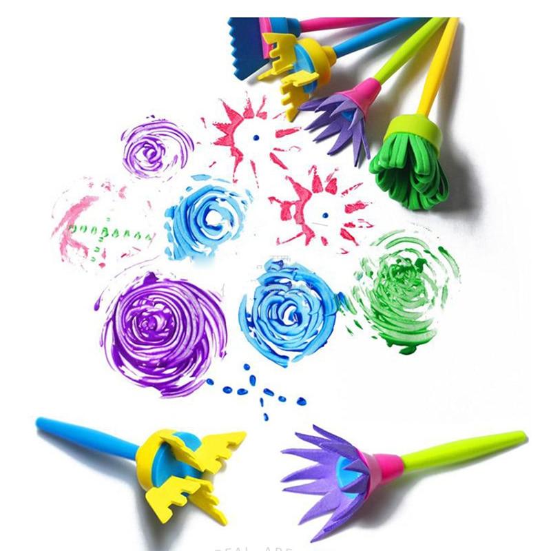 4Pcs/set Flower Stamp Sponge Paint Brush Toys Handle Seal Sponge Brushes Kids Children Drawing DIY Painting Graffiti Stamps Toys