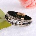 Fashion Jewelry 5 colors Magnetic Buckle Leather Bracelet Boho Rhinestone Beads Bracelets Bangles Women Men Pulseira Jewelry