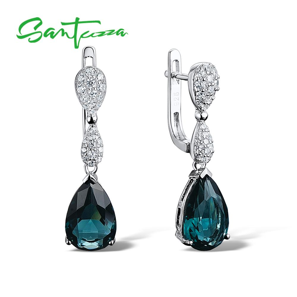 SANTUZZA Silver Drop Earrings 925 Sterling Silver for Women Magic Green Crystal White Cubic Zirconia Fashion Jewelry