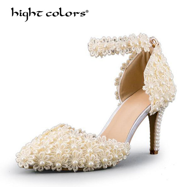 f795eb099 Red Pink White Lace Flower Bridal Shoes 8CM High Heel Round Toe Wedding  Pumps Ankle Straps