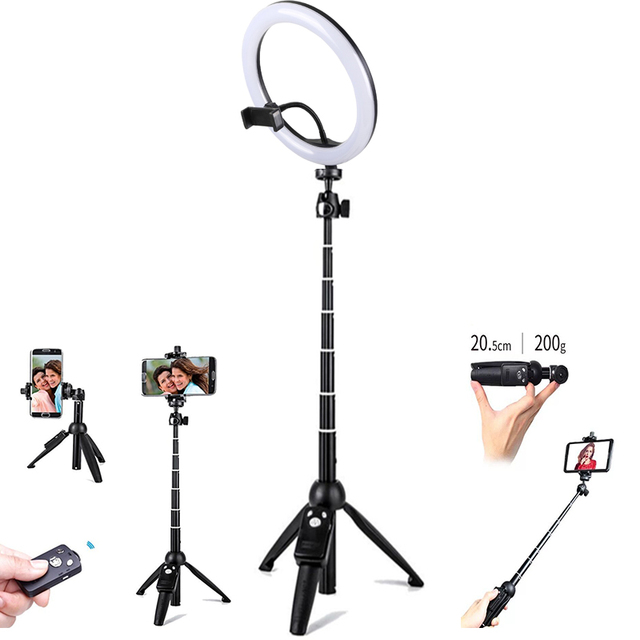 26cm Ring Light USB Charge Ring LED 110cm Height YUNTENG Self Stick for Camera Phone Photography Smartphone Studio Live show