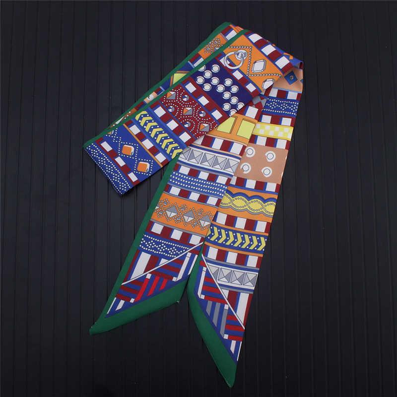 Nouveau femmes soie maigre sac écharpe pour dames cheveux foulards ruban cou foulards cravate main bande tache foulard concepteur 2019