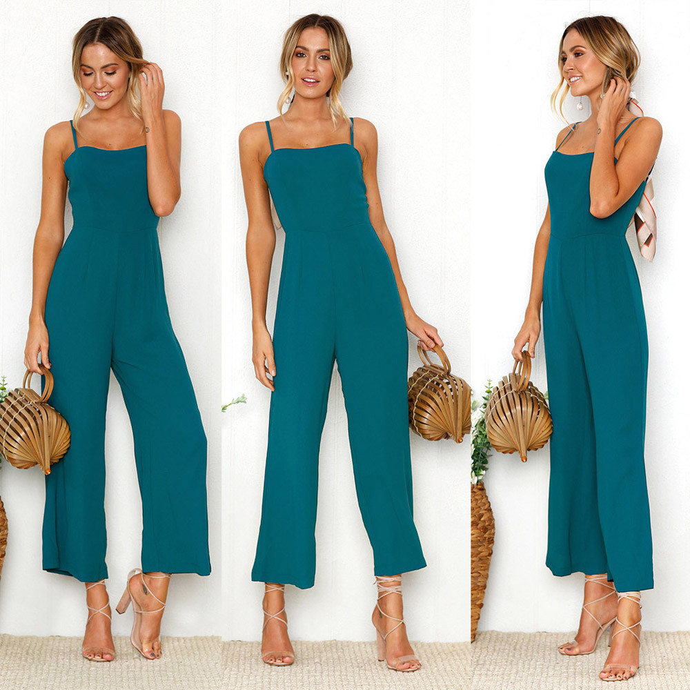 Womens Straps Zipper Holiday soft and comfortable Playsuit Ladies Long Beach   Jumpsuit   L50/0116