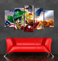 Marvel superhero lego cartoon canvas art painting wall decor of 5 pieces for kids room decoration 2017 popular cartoon posters