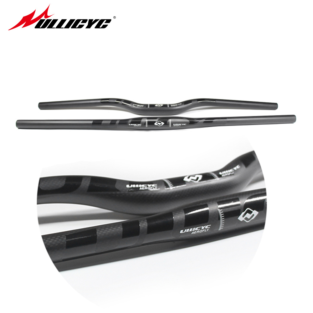 Ullicyc Full Carbon Matt Black +Glossy Decals Mountain/MTB Handlebar 3K Matt Carbon Flat/Rise 600mm-740mm CB186 цена
